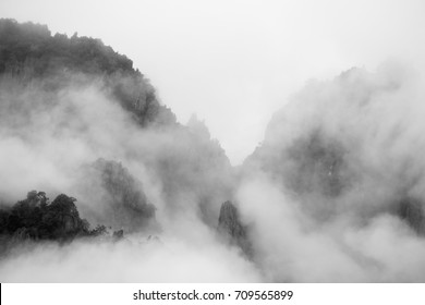 Mountains and mist black and white style