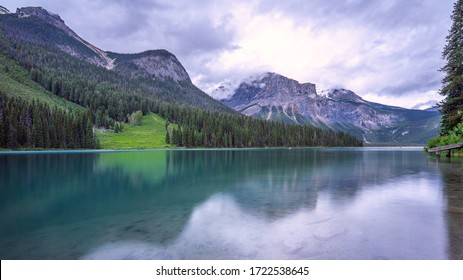 Mountains and Moraine Lake at sunrise. Banff National Park landscape, Alberta Canada