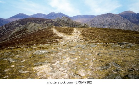 Mountains of Mourne, County Down, Northern Ireland: weathered paths reach into the horizon.