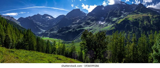 Mountains In Nationalpark Hohe Tauern And Peak Of Grossglockner In Austria