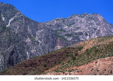 Mountains near Naryn River and the main Osh - Bishkek road. Edge of the Tien Shan Mountains. Southern Kyrgyzstan.