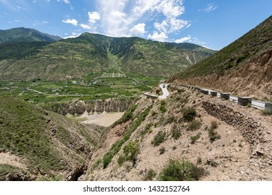 Mountains near Tibet, China. Sichuan is the starting point of the silk road and the Road and Belt Initiatives amid trade war with USA.