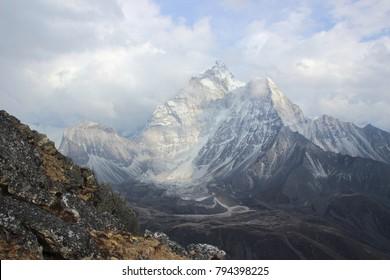 Mountains in Nepal. Adventure climbing Everest.