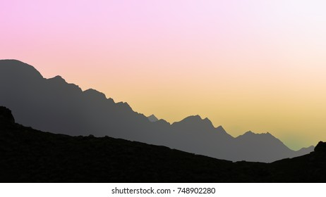 Mountains in the north of Gran Canaria islands (Agaete village) at sunset