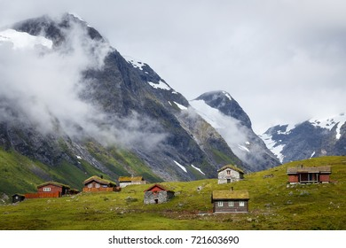 Mountains in Norway with summer houses