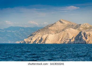 Mountains on island Prvic. Prvic is an uninhabited island in the Croatian part of the Adriatic Sea near the island Krk, located in the Kvarner Gulf