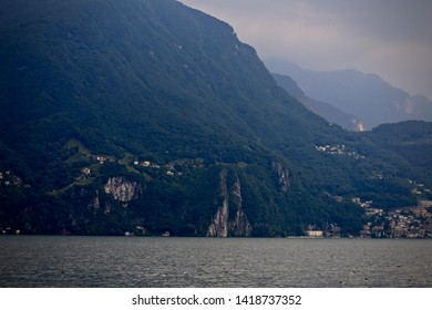 Mountains on Lake Lugano, Lugano.