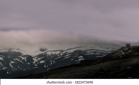 Mountains outline in Norway on a stromy day. - Shutterstock ID 1822473698