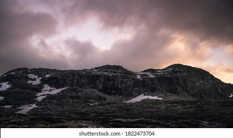 Mountains outline in Norway on a stromy day. - Shutterstock ID 1822473704