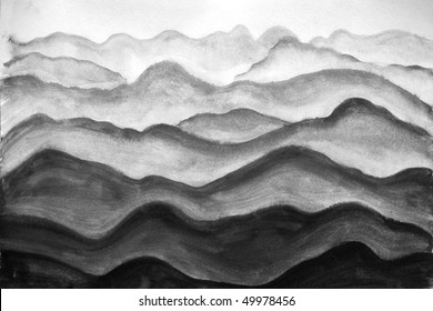 mountains, painted watercolor on paper