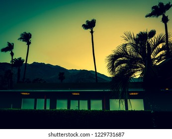 Mountains, Palm Trees and Motel Lights in Palm Springs at Sunset with Copy Space
