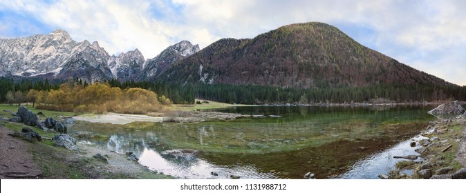 Mountains panorama.  Alpine landscape with lake. Lake of Fusine,Tarvisio,Italy.