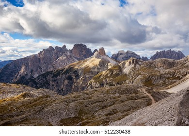 Mountains Panorama of the Dolomites with clouds.Italy