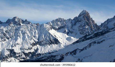 Mountains panorama Mont Blanc and Chamonix view. France.