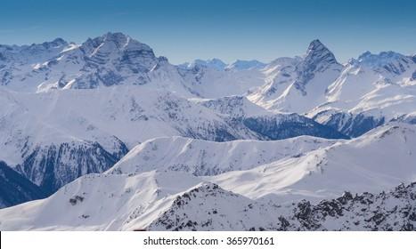 Mountains in the Parsenn area, ski resort Weissfluhgipfel in Davos, Switzerland