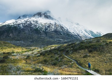 Mountains in Patagonia with glacier and waterfall