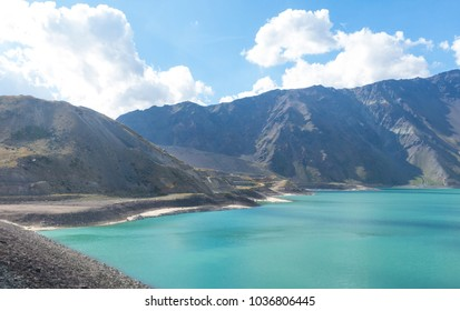 Mountains and peaks landscape in Lake of Yeso. Cajon del Maipo. Santiago of Chile