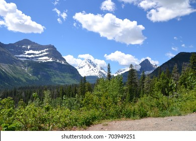 Mountains with permafrost (glaciers) and beautiful crisp blue skies are part of the beauty in Glacier National Park, Montana
