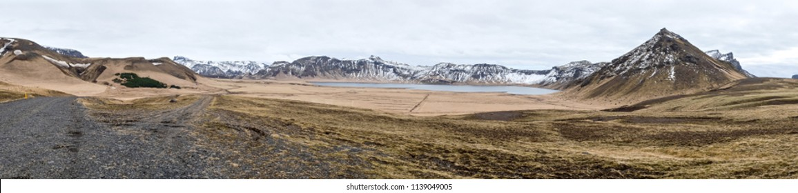 Mountains range panorama in Iceland.