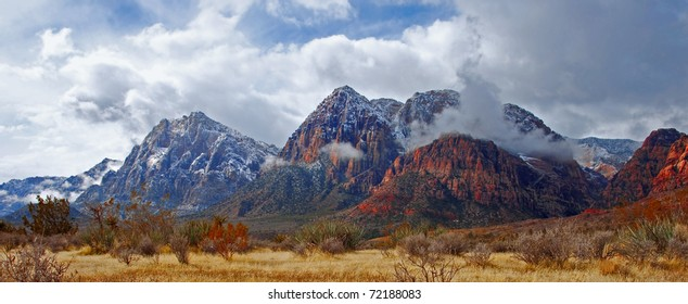 The mountains of Red Rock Canyon State Park, Nevada after an early morning snowfall.