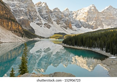 Mountains reflected in Moraine Lake Banff National Park Alberta Canada