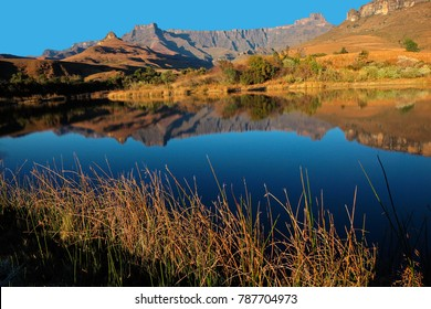 Mountains with reflection in water, Royal Natal National Park, South Africa
