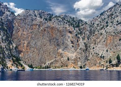 Mountains at Rhodes Island bay. Rodos, Greece. Landscape.