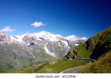 Mountains Road in Austrian Alps, High Alpine Road - Grossglockner