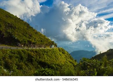 Mountains and road in Huehuetenango, Guatemala