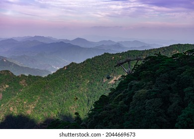 Mountains and ropeway stations in tourist attractions