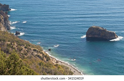 Mountains and the sea near to the city of Balaklava