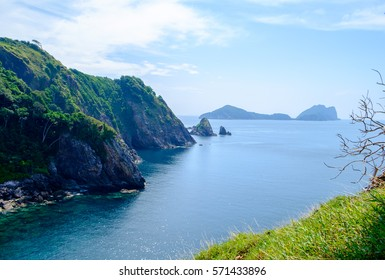The mountains and sea scenery with blue sky, Islands: Lord Loughborough, Myanmar