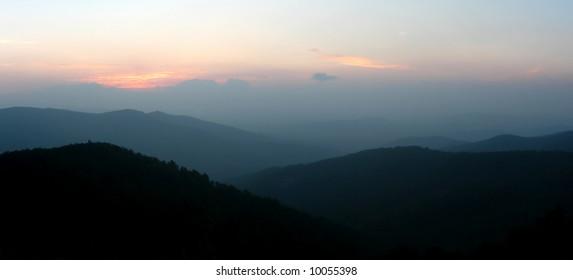 Mountains of Shenandoah National Park at sunrise, Virginia