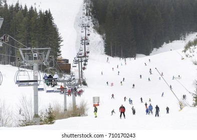Mountains ski resort Bansko, Bulgaria- nature and sport background