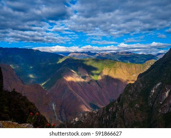 Mountains and sky landscape from Machu Picchu, extreme wide shot