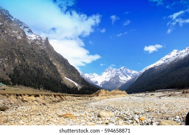 Mountains, Sky & River Bed - A Valley, North Sikkim