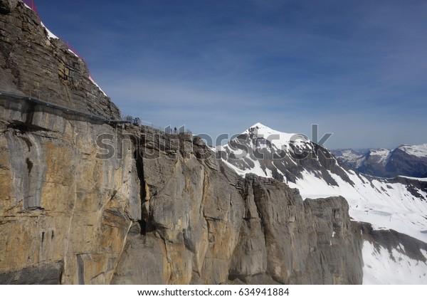 Mountains skyline walk at Shilthorn, Switzerland