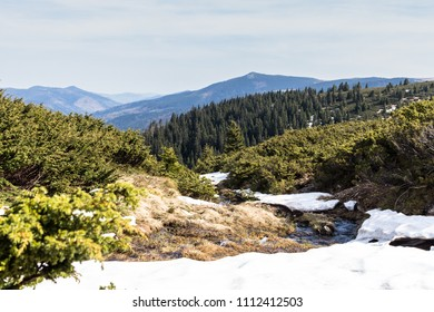 Mountains in spring with little snow