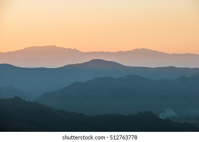 Mountains with sunset