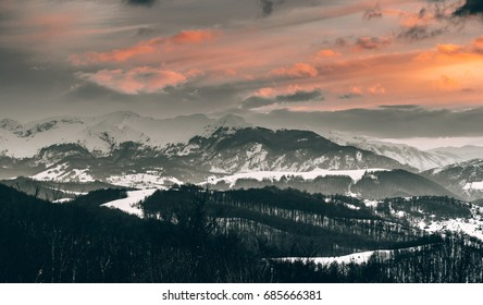 Mountains at sunset in winter