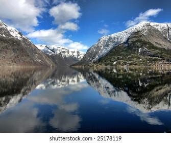 Mountains surrounding Hardanger Fjord, Norway