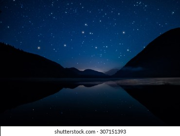 Mountains surrounding lake on starry night
