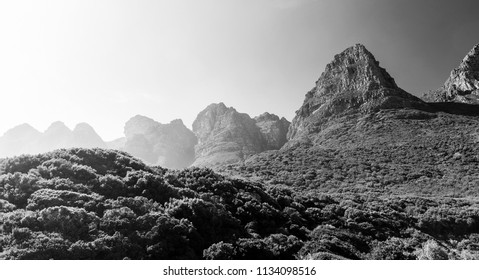 Mountains of Table Mountain National Park in Cape Town, South Africa in black and white
