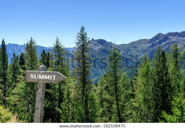 Mountains with trees and sign