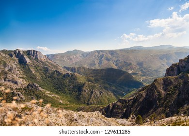 Mountains under the blue sky in Montenegro