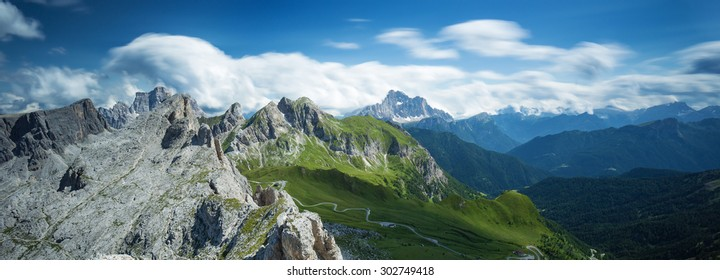 Mountains and valley in Dolomite Alps,Italy