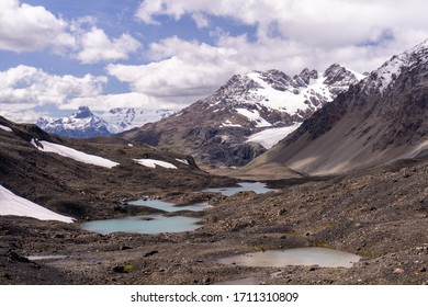 Mountains and valley landscape in Patagonia, during hike in Ruta de Los Pioneros (The Pioneers Route), between Villa O Higgins and Cochrane