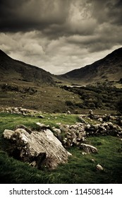 Mountains & valley in MacGillycuddy's Reeks, County Kerry, Ireland