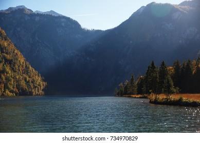 Mountains and valleys around lake Königssee in autumn