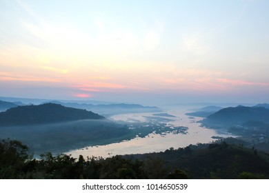 Mountains View from Phu Huay Isan in Nong Khai, Thailand.